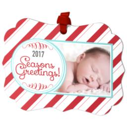 Thumbnail for Scalloped Metal Ornament with 2017 Candy Cane Greetings design 2
