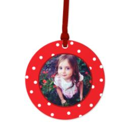 Thumbnail for Ceramic Disc Photo Ornament with Decorative Dots Red design 1