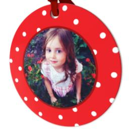 Thumbnail for Ceramic Disc Photo Ornament with Decorative Dots Red design 2