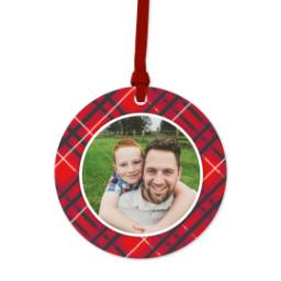 Thumbnail for Ceramic Disc Photo Ornament with Festive Plaid design 1