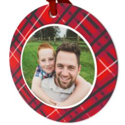 Thumbnail for Ceramic Disc Photo Ornament with Festive Plaid design 2