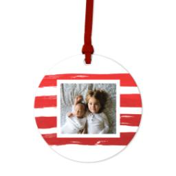Thumbnail for Ceramic Disc Photo Ornament with Jolly Red Stripes design 1