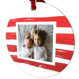 Thumbnail for Ceramic Disc Photo Ornament with Jolly Red Stripes design 2