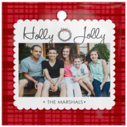 Thumbnail for Glass Square Photo Ornament with Sugar Plum Plaid design 1