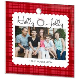 Thumbnail for Glass Square Photo Ornament with Sugar Plum Plaid design 2