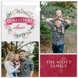 Thumbnail for Glass Square Photo Ornament with Wrapped in Wreaths design 1
