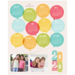 Thumbnail for 8x10 Calendar Border Print, Luster Photo Paper with Balloon Fun 2020 design 1