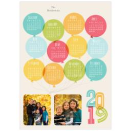 Thumbnail for 5x7 Calendar Border Print, Luster Photo Paper with Balloon Fun 2019 design 1