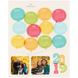 Thumbnail for 8x10 Calendar Border Print, Luster Photo Paper with Balloon Fun 2019 design 1