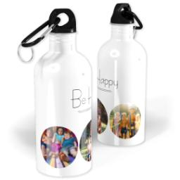 Thumbnail for Photo Water Bottle, 20oz with Be Happy Collage design 1