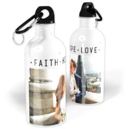 Thumbnail for Photo Water Bottle, 20oz with Faith Hope Love Remains design 1