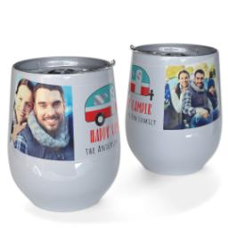 Thumbnail for Stainless Steel Wine Tumbler with Happy Camper design 1
