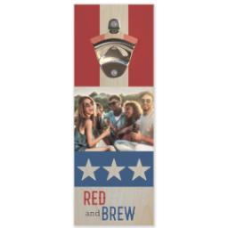 Thumbnail for Wall Mounted Bottle Opener with Red, White & Brew design 1