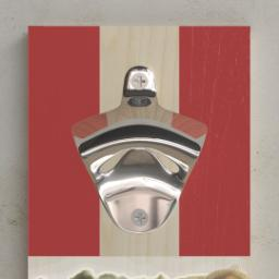 Thumbnail for Wall Mounted Bottle Opener with Red, White & Brew design 2