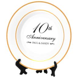 Thumbnail for Personalized Photo Plate with Classic Anniversary 10 design 2