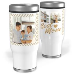 Thumbnail for Stainless Steel Tumbler, 14oz with Best Mom Chevron design 1