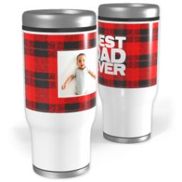 Thumbnail for Stainless Steel Tumbler, 14oz with Cozy Flannel Dad design 1