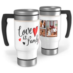 Thumbnail for Stainless Steel Photo Travel Mug, 14oz with Family Hearts design 1