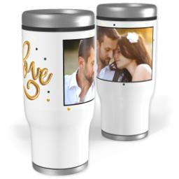 Thumbnail for Stainless Steel Tumbler, 14oz with Golden Love design 1