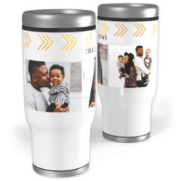Thumbnail for Stainless Steel Tumbler, 14oz with Gold Triangle Details design 1