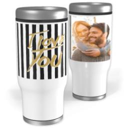 Thumbnail for Stainless Steel Tumbler, 14oz with Love Stripes design 1