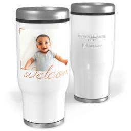 Thumbnail for Stainless Steel Tumbler, 14oz with Rose Gold Welcome design 1